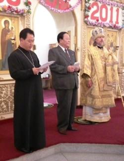 Фото. Пхеньян. Торжества по случаю пятилетия освящения Троицкого храма